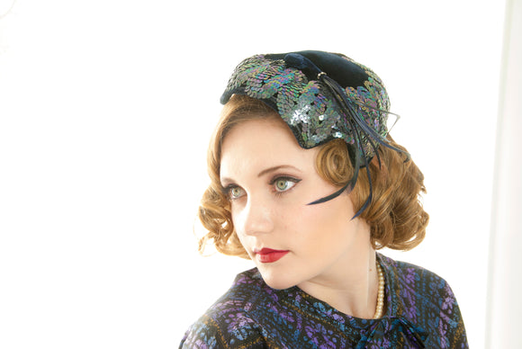 Vintage 1950s blue formal hat, navy sequins velvet feathers rhinestones, pin-up headpiece pillbox capulet