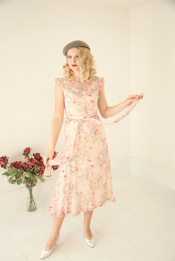 Vintage pink floral 1920s dress, sleeveless sheer midi summer gray white ruffles bias-cut 1930s XS