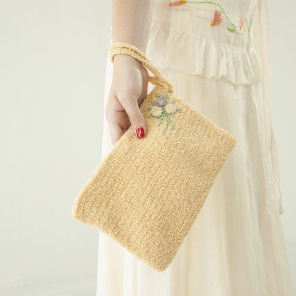 Vintage 1930s knit clutch wristlet purse, ivory cream yellow wool floral pastel flowers formal, Byrdana 1920s