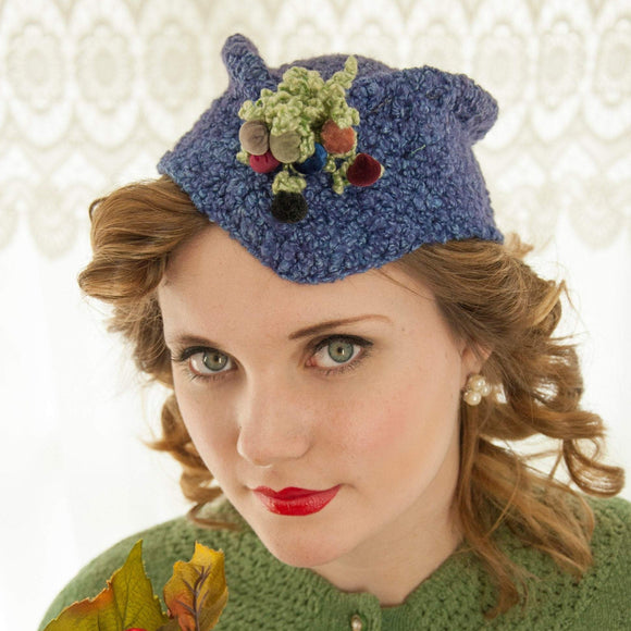 Vintage 1930s blue knit hat, green burgundy velvet floral bouquet fascinator mini beanie cap Byrdana 1940s