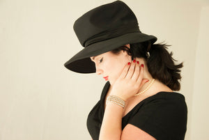 Vintage 1950s large black hat, satin sun wide brim, bow, asymmetric tall formal floppy 1960s pin-up