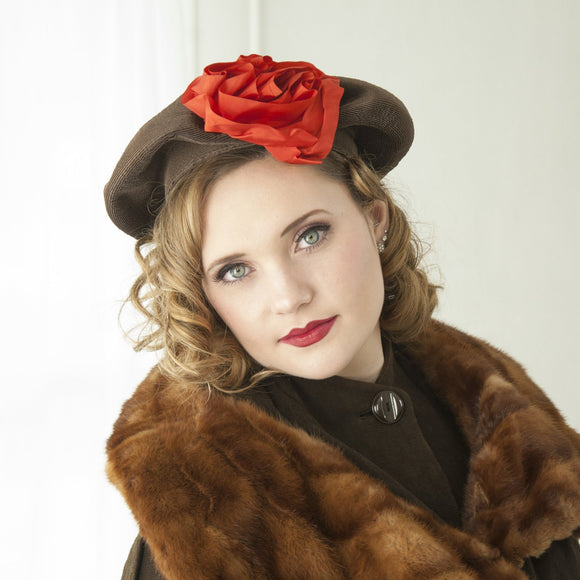 Vintage 1930s brown hat, large rust burnt orange taffeta flower, floral beret tam turban formal, art deco