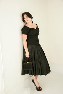 Vintage 1950s black formal dress, off-shoulder short sleeves formal midi, drop waist taffeta tulle wool fit and flare sexy pin-up, XL