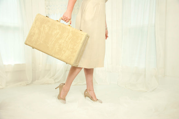 Vintage Samsonite suitcase, marbled beige white hardshell luggage ivory cream tan brass, 1940s 1950s