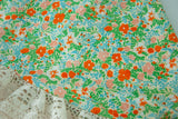 Vintage green floral shawl, colorful orange flowers, light spring, white lace triangle wrap scarf, boho retro 1970s