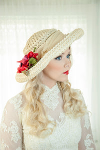 Vintage 1950s ivory sun hat, large Edwardian style white formal summer wedding bridal pin-up, red silk velvet roses floral, The French Room