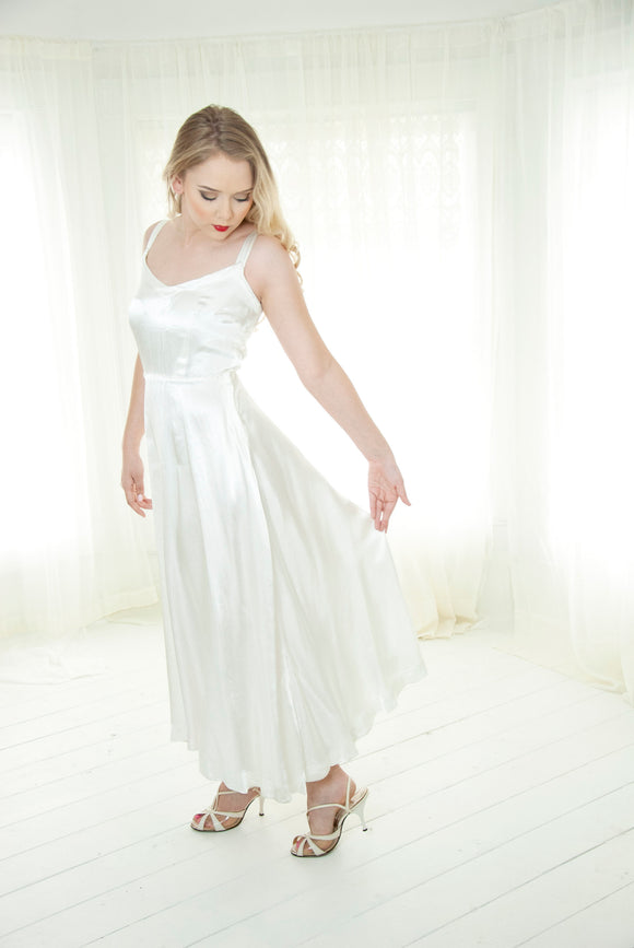 Vintage 1940s white satin slip dress, sleeveless full bias-cut midi tea length, 1950s summer wedding, simple, XS S