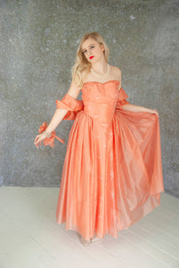 Vintage 1950s orange formal gown dress set, cantaloupe melon organza strapless bolero, full-length sweetheart, long sheer pin-up, S