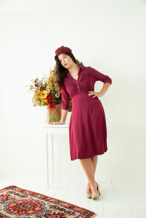 Vintage 1940s wine dress, rayon burgundy raspberry mulberry purple midi 3/4 sleeves, M L