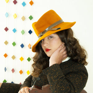 Vintage 1940s burnt orange hat, brown faux-crocodile leather vinyl band, wide-brim ladies fedora sunhat, fall colors rust