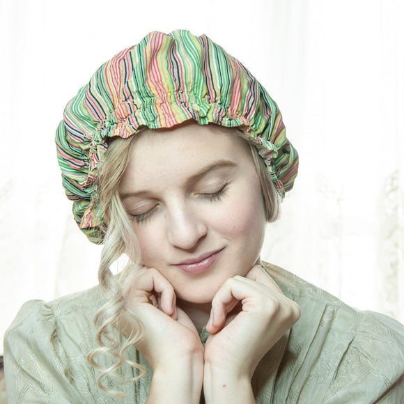 Vintage 1930s striped sleep cap, green red yellow chartreuse colorful stripes rayon night bonnet hat, beige crochet lace, Victorian style