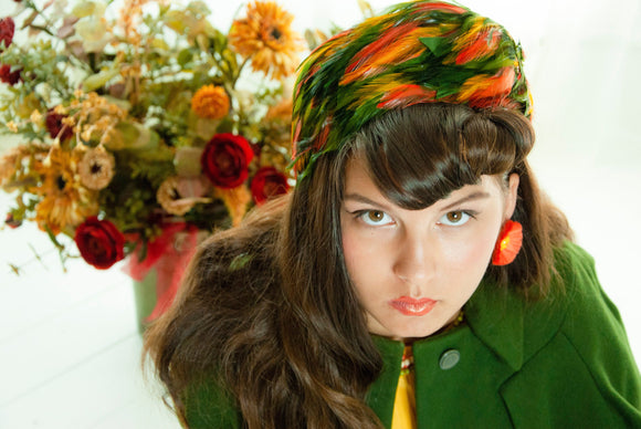 Vintage 1950s orange green feathers hat, yellow gold pillbox autumn colors, formal prom pin-up mid-century