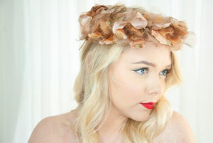 Vintage brown floral hat, velvet silk leaves, formal 1950s pin-up mid-century mauve halo pillbox headpiece