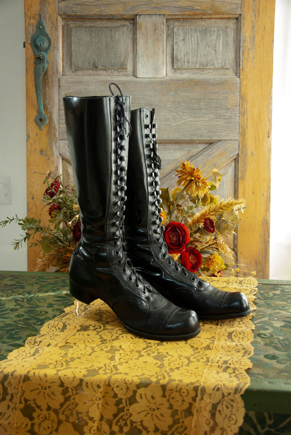 Tall black Victorian boots, mens womens unisex patent leather lace up antique 1800s steampunk 9 10