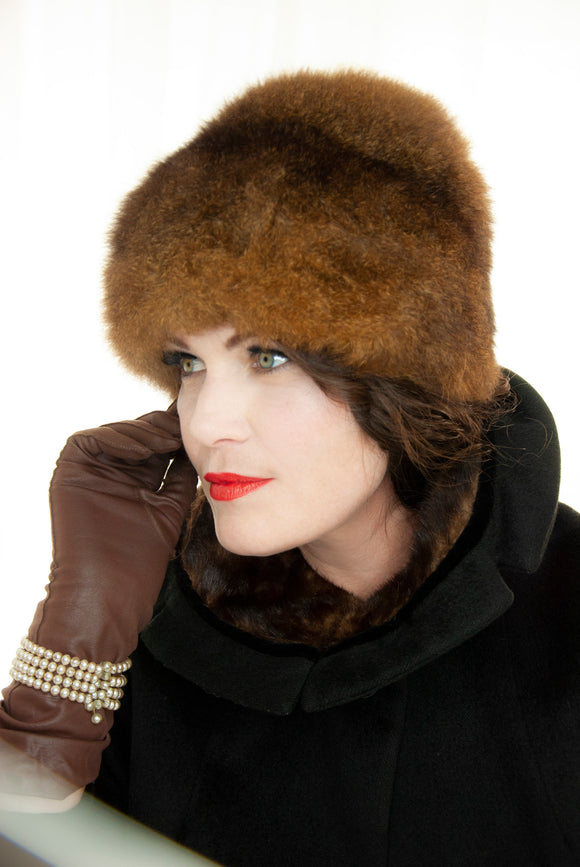 Vintage 1960s brown fur hat, dark genuine mod tall cossack 1950s pin-up winter formal mid-century