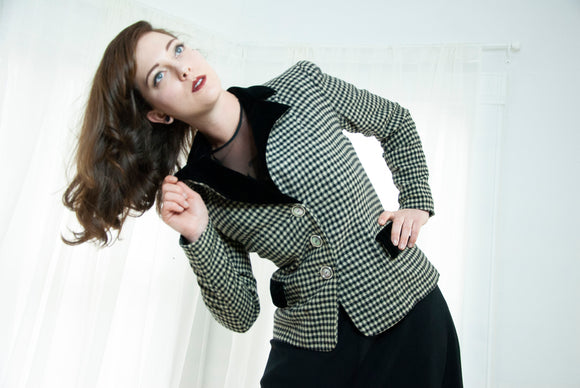 Vintage 1950s black & white blazer, houndstooth wool velvet collar jacket, long sleeve pin-up formal mid-century M L