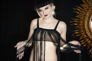 "Vintage black long fringed top, 21"" fringe, sleeveless sheer nylon crop top flapper 1920s style bra sexy tank, XS S 1960s"