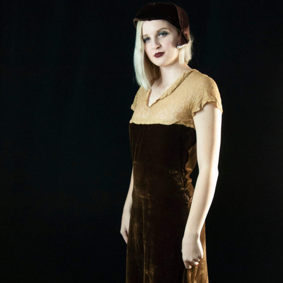 Vintage 1930s brown silk velvet dress, ecru lace bodice, short sleeves, sheer midi formal S