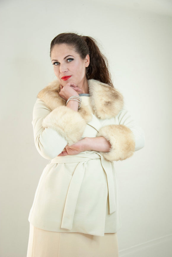 Vintage ivory jacket, genuine white shearling collar cuffs, wrap sweater retro boho 1970s M