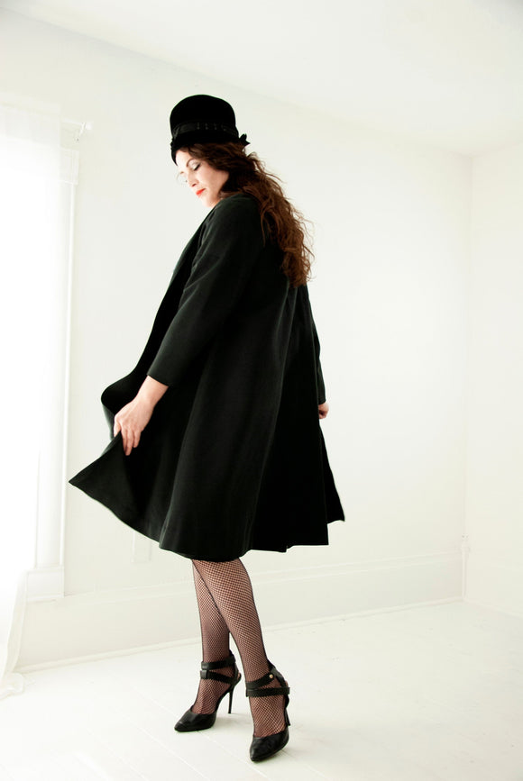 Vintage 1950s black swing jacket, silk faille pin-up coat formal long mid-century S M L