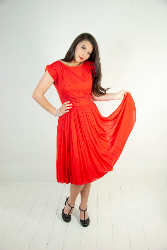 Vintage 1960s red chiffon dress, short cap sleeve, rhinestones fit and flare formal, midi below the knee, pin-up prom mid-century M L