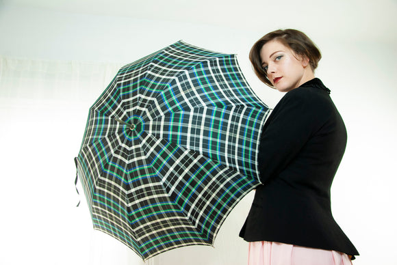 Vintage green plaid umbrella, white black blue, hook handle, 1960s mid-century pin-up