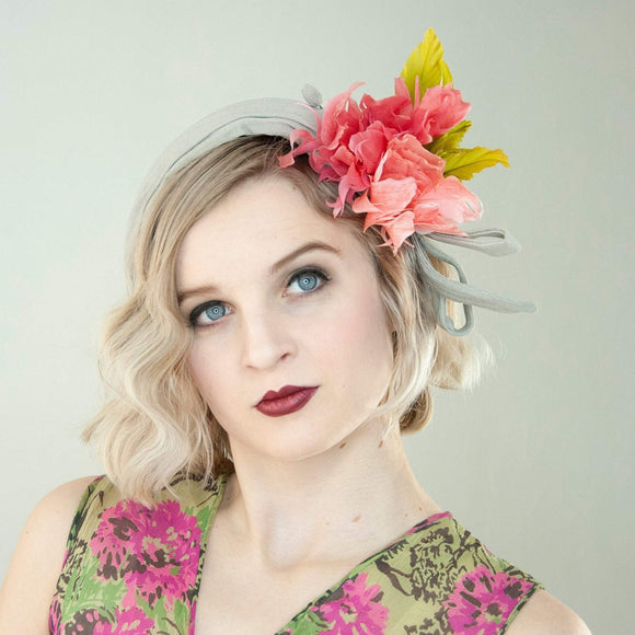 Vintage 1920s floral headband, flowers feathers headpiece, matching hat pin, grey pink green, flapper roaring 20s Gatsby formal bridal 1930s