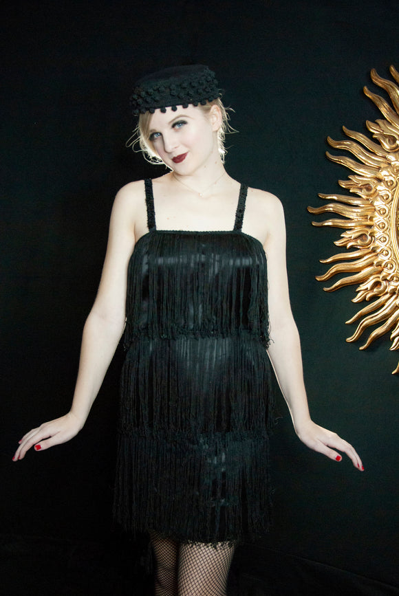 Vintage black 1920s-style fringe dress, short strapless sequin satin mini flapper art deco 1960 Gatsby XS S