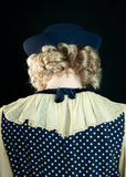 Vintage navy blue bumper hat, 1950s formal pin-up nautical sailor school girl