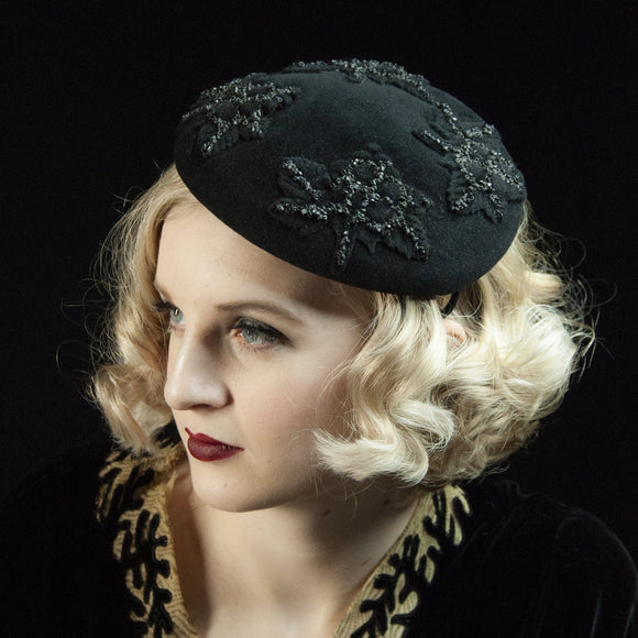 Vintage 1930s black headpiece, fascinator mini hat, floral beaded wool embellished formal film noir art deco Gatsby 1920s