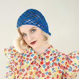Antique 1920s blue crocheted flapper hat