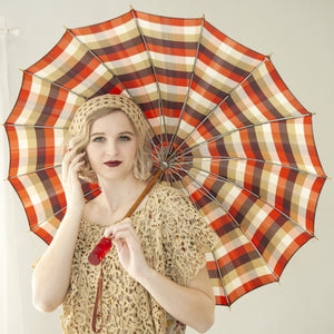 Vintage 1930s red striped umbrella, maroon tan green stripes, wood, clear Bakelite handle 1940s
