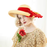 Vintage 1930s straw sun hat, red velvet ribbon, woven natural wide brim, art deco formal summer