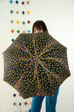 Vintage black floral umbrella, cotton parasol, blue red yellow turquoise green colorful flowers 1960s mod 1970s retro
