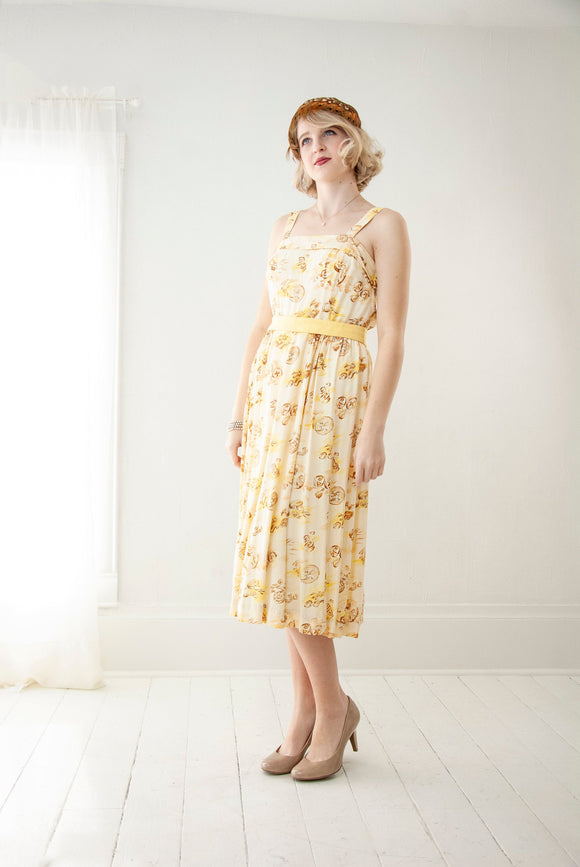 Vintage 1940s yellow novelty print dress, cream ivory white brown sleeveless rayon summer midi, autumn harvest bread gourds food S