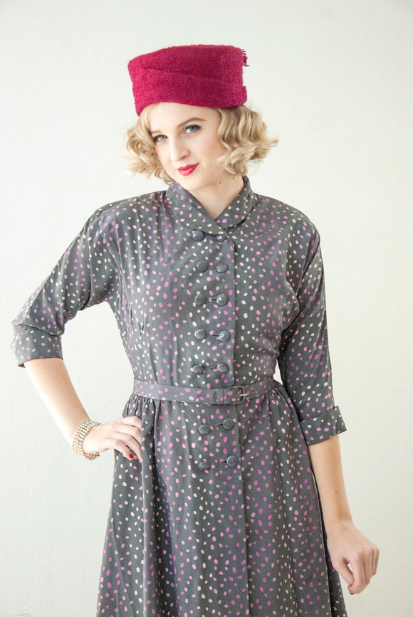 Vintage 1950s purple polka dot dress, gray pink white 3/4 sleeve, double-breasted shirt collar, below knee, S