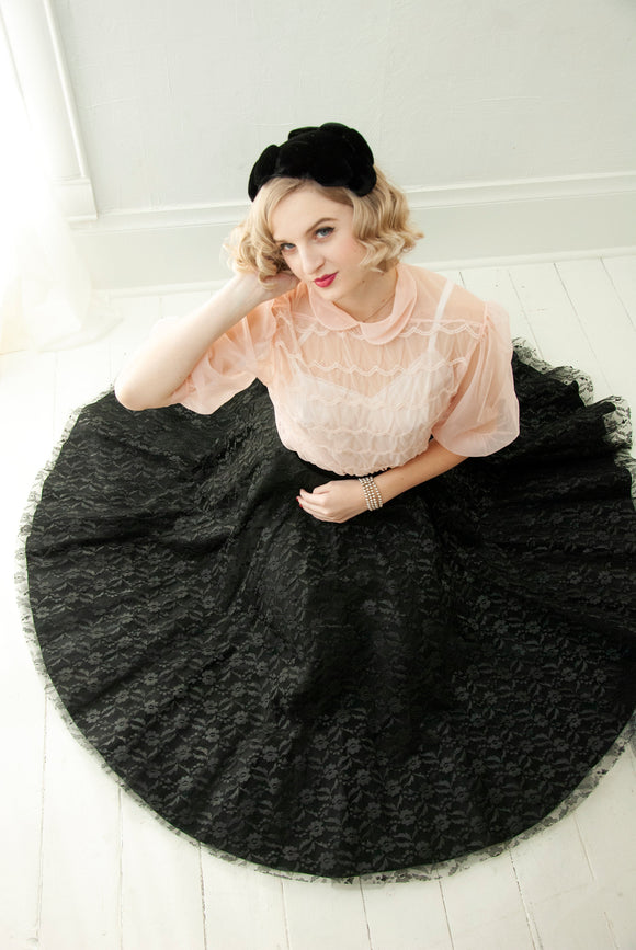 Vintage 1950s black lace circle skirt, velvet tulle high waist poodle midi formal tulle, XS