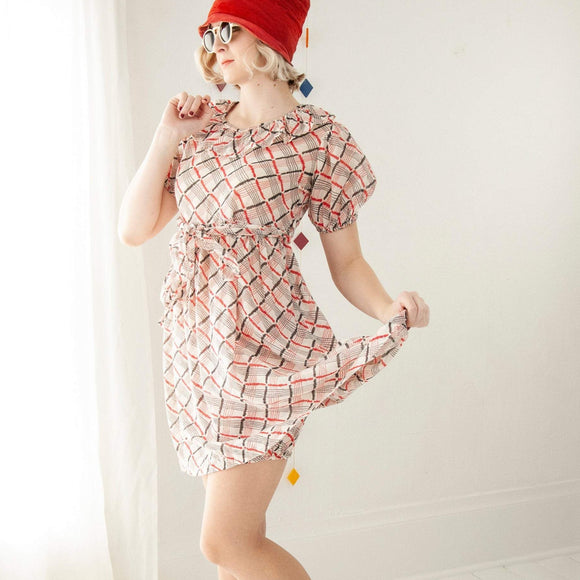 Vintage 1930s playsuit set, white red black plaid beach pajamas dress bloomers outfit, 1920s flapper cotton romper