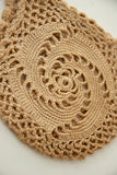 Antique beige string holder, natural tan cotton crocheted lace wristlet pouch, vintage Victorian 1800s