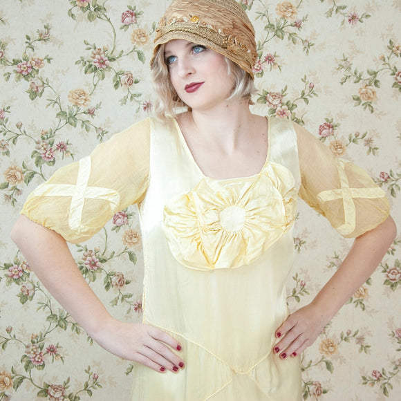 Vintage 1920s yellow dress, sheer organza sleeves, floral pastel silk satin bias cut midi flapper Gatbsy formal wedding S M