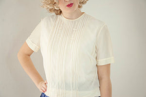 Vintage 1950s white blouse, sheer nylon short sleeves, off-white summer buttons in back, shirt top, M pin-up mid-century