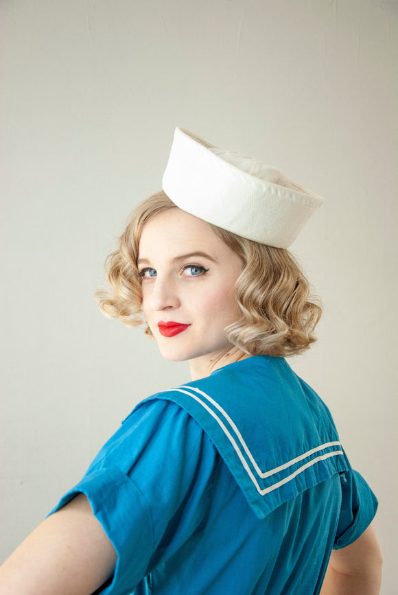Vintage 1940s white sailor hat, Dixie cup cap, cotton nautical United States US Navy military costume uniform Gilligan