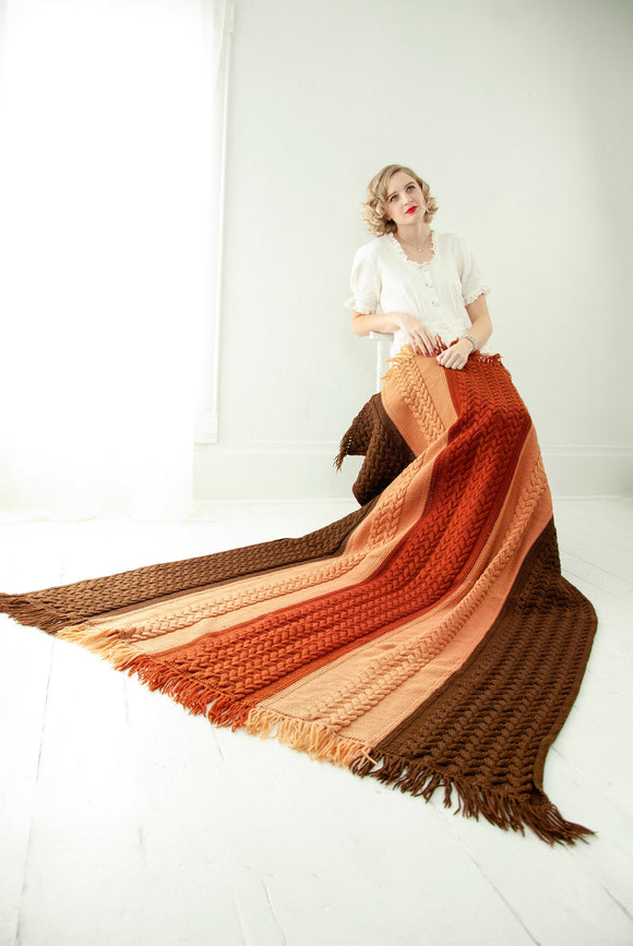 Vintage brown striped afghan, cable knit wool throw blanket, earth tones neutral tan, fringe boho 1970s