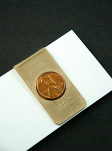 "Vintage penny money clip, ""After Taxes"" gold metal copper 1960s gift for him Dad"