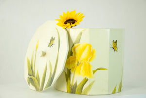 Vintage yellow iris wooden bucket, white hand-painted floral flowers pail bin, storage holder, heavy large butterfly boho home decor