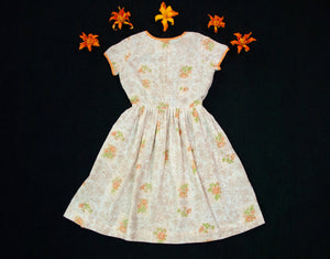 Vintage 1960s orange floral dress, short sleeve roses, white summer, 1950s mid-century style L XL