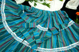 Vintage turquoise striped circle skirt, blue red white lace stripes, L