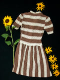 Vintage 1940s striped silk dress, brown white lace, polka dots, short sleeves shift XS juniors