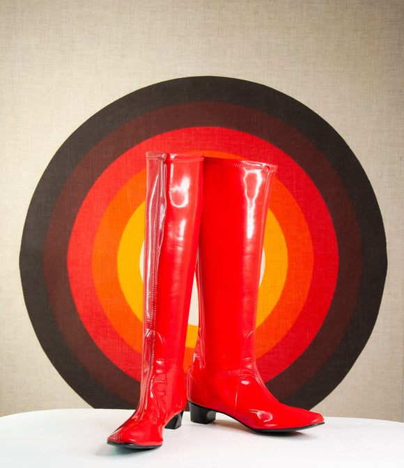 Vintage 1960s red vinyl boots, tall shiny faux patent leather black kitten heel flats, mod retro 6