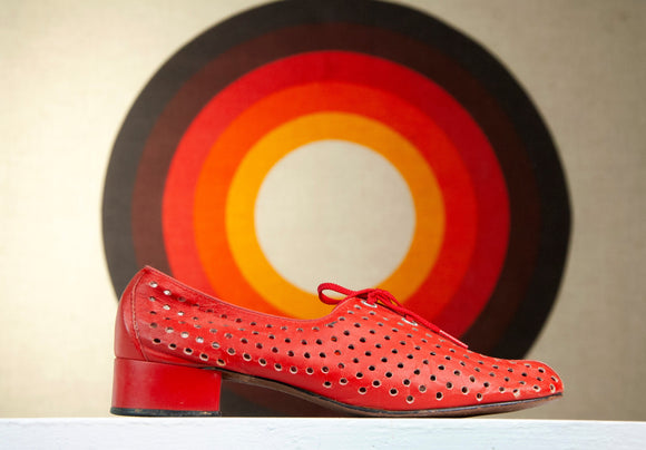 Vintage 1970s red leather shoes, chunky heel tie oxford retro 8.5 9